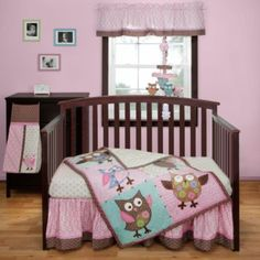 Love the picture frames on the wall - Bananafish® Calico Owls Crib Bedding - buybuyBaby.com