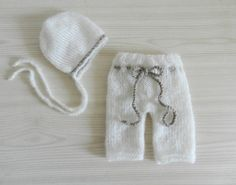 Knit baby pants and hat Newborn knit pants by TheMoonlightShadow, $44.00