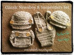 Twin Boys Photography Prop Crocheted Baby Classic and Suspenders Newsboy Hat & Diaper Cover Set size newborn 0-3 3-6 6-12 mos. $62.50, via Etsy.