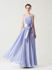 Straps Chiffon A Line Floor Length Bridesmaid Dress with Sash