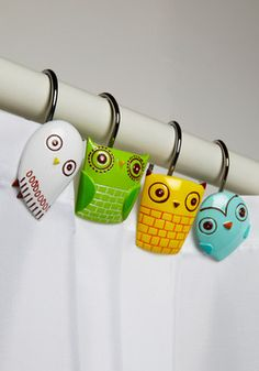 aww these are so cute Owl Clean Shower Curtain Rings, #ModCloth