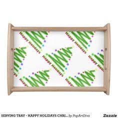 SERVING TRAY - HAPPY HOLIDAYS CHRISTMAS TREE ART