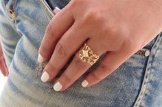 Gold ring  Filigree ring Adjustable ring Statement by HLcollection, $26.00