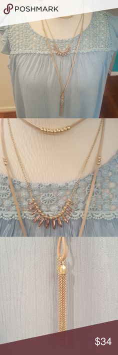 "Lucky Brand Rose Gold Leather Choker 4-in-1 Layered Necklace, shortest choker 14.5"" before 2""extender  on overall necklace. Necklace also has gold beads as well. Lucky Brand Jewelry Necklaces"