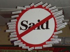 "Vocabulary During Writing Workshop: No more ""said."" Here's a way to display the various words to use instead of said. (This can be done with any overused word.)"