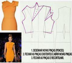 Pencil dress with asymmetrical neckline pleat detail