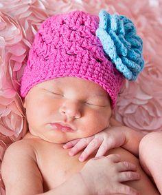 Pink Flower Crochet Beanie by Melondipity  zulilyfinds Crochet 85fd5000e2eb