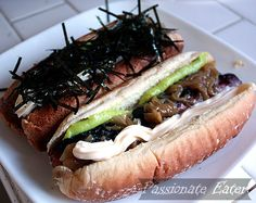 Inspired by Vancouver's famed Japadogs - all beef hot dogs with wasabi paste, Japanese mayo, caramelized onions, and nori slivers