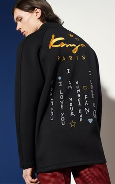 Long Bomber Jacket, BLACK, KENZO