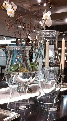 Reed & Barton showroom - WILLIAMSBURG glass hurricanes set