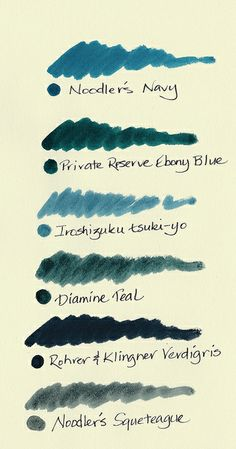 Green-Blue Inks Comparison by inkophile