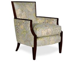 "Dimensions: 26.5""w x 31""d x 34.5""h   sku: 2111427  $799.95  Sale Price: $699.95       The Cabana wood frame chair comes standard with blendown seat cushion and welt trim. Stocked in a whimsical floral print complimented by a plantation finish wood frame. Other special order options available include nailhead trim and alternate wood finishes. Many other fabrics available by special order at the same price. USA made"