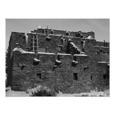 Historic Hopi House at Grand Canyon National Park was designed by American female architect Mary Colter and constructed in 1905 as a showcase for Hopi Native American tribal gifts and culture, and a residence for the Hopi who worked there. Today it is a gift shop featuring a wide range of Hopi, Navajo and Pueblo native cultural handicrafts. Original black and white travel photography by Tammy Winand.