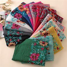 Cheap floral viscose scarf, Buy Quality viscose scarf directly from China scarf shawl Suppliers: 2017 Winter Embroidered Floral Viscose Scarf Shawl From Indian Bandana Print Cotton Scarves and Wraps Foulard Sjaal Muslim Hijab Bandana Scarf, Bandana Print, Snood Pattern, Hijab Look, Bordado Floral, Lisa, Pashmina Shawl, Scarf Design, Cotton Scarf