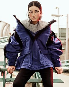 Liu Wen fills the scene in Balenciaga jacket, pants and sweater  for The Edit Magazine September 2016 editorial