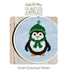Easy Penguin Cross Stitch Pattern Instant Download