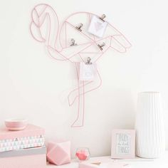 flamingo wire wall art for a girl's home office can be a practical and cute … - DIY Deko My New Room, My Room, Girl Room, Deco Pastel, Wire Wall Art, Flamingo Decor, Tropical Interior, Tumblr Rooms, Girl House