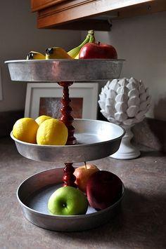 DIY Repurposed cake pan fruit tower! #kitchen #decor #recycle #home