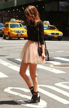 pink skirt with a black top