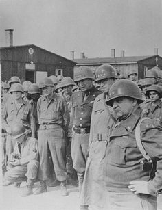 Generals Manton Eddy, Omar Bradley and George Patton  viewing the macarbe scene at Buchenwald