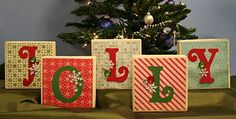 """Cute idea for Holiday Decor!  Use craft blocks and crafting supplies to make any room a little more """"Jolly""""! #Christmas, #Decorations, #DIY"""