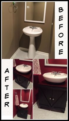 Re-purpose or build a cabinet around your pedestal sink to transform it and for extra storage. Under Pedestal Sink Storage, Pedistal Sink, Pedestal Sink Bathroom, Bathroom Sink Storage, Small Bathroom Sinks, Bathroom Sink Cabinets, Small Sink, Laundry Room Storage, Basement Bathroom