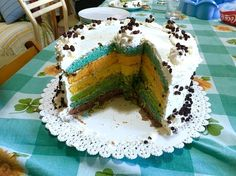 Rainbow cake with chocolate drops �� Made by me ������❤️ #cake #rainbow #sweet #cream #chocolate #drop #layers #good #food #foodblogger #color #blue #orange #yellow #violet #green #white #photooftheday #instagood #instapic #instadaily #instafood http://w3food.com/ipost/1506110886120790085/?code=BTmx98HlBhF
