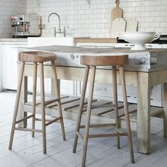 Oak Stool - contemporary - bar stools and counter stools - Cox & Cox New Kitchen, Kitchen Dining, Kitchen Decor, Kitchen Stools, Kitchen Island, Kitchen Rustic, Natural Kitchen, Kitchen Size, Minimal Kitchen