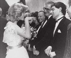 "Princess Diana meets comedian Rowan Atkinson (Mr.Bean) while greeting the cast of the ""Royal Variety"" show in 1984.  #everythingroyaltydiana"