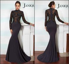 Fashion Long Sleeve Evening Dresses Satin Mermaid High Collar ...