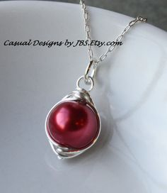 Red Cranberry Glass Pearl Pendant Silver Necklace Handmade by www.CasualDesignsbyJBS.Etsy.com