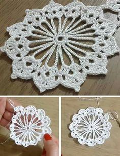 Crochet Motif Patterns, Granny Square Crochet Pattern, Tunisian Crochet, Crochet Squares, Crochet Designs, Crochet Dollies, Crochet Art, Crochet Flowers, Crochet World