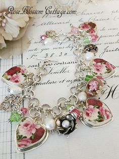 Forever Pink and Red Rosea Sterling Broken China Jewelry Bracelet