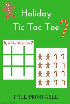 Print and cut out the gingerbread and candy cane images for a fun holiday tic tac toe game!