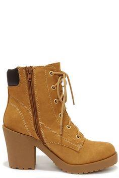 Flirty Work Tan High Heel Work Boots at Lulus.com!