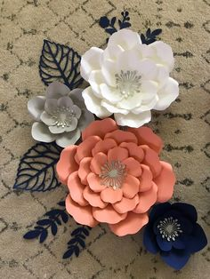 7 piece paper flowers set for room decor baby shower nursery Tissue Paper Flowers, Paper Flower Wall, Flower Canvas, Flower Wall Decor, Flower Art, Small Flowers, Diy Flowers, Anchor Paper, Felt Flowers Patterns
