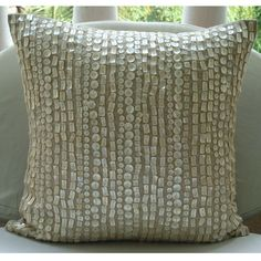 Purely Pearls - Throw Pillow Covers - 16x16 Inches Cotton Linen Pillow Cover with Mother Of Pearl. $39.90, via Etsy.
