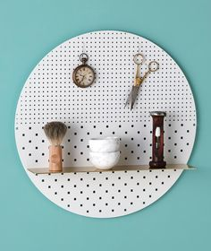 Small Mint Circle- white or brass finish Circle Shelf, Locker Organization, Shelf Arrangement, Market Displays, Perforated Metal, Soft Seating, Baskets On Wall, Wall Spaces, Small Living