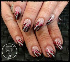 Fun French black red silver nail art