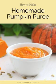Learn how to make homemade pumpkin puree from scratch!  It's easy to do and perfect for your favorite healthy pumpkin recipes. See how to roast a pumpkin, puree pumpkin, and store pumpkin puree, plus uses for it. Be sure and check out the video to see how it's done! #pumpkinpuree #howto #fallrecipe #cleaneating Pumpkin Puree Recipes, Homemade Pumpkin Puree, Pureed Food Recipes, Healthy Pumpkin, Canned Pumpkin, Healthy Gluten Free Recipes, High Protein Recipes, Vegetarian Recipes, Clean And Delicious