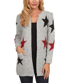 Another great find on #zulily! Gray & Red Star Open Cardigan - Women #zulilyfinds