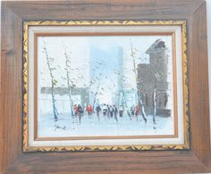 Mid Century Vintage Original Art Cityscape Painting Framed and