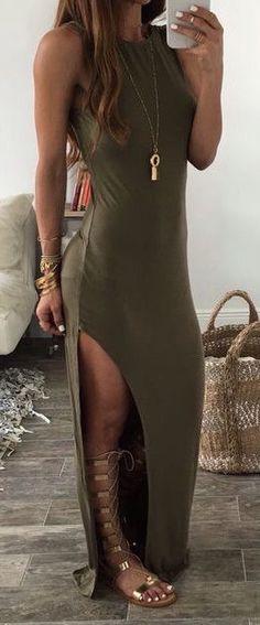 #summer #fashion / olive dress