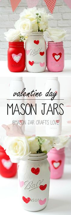 Jar Crafts for Valentine's Day - Thumbprint Heart Mason Jar Vase Craft for Kids