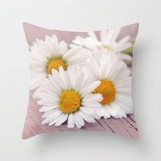 Daisies. Throw Pillow by Mary Berg - $20.00 #pillows, #society6 #daisies #white #purple #home