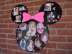 DIY Minnie Mouse Photo Collage @Ana G. G. G. CotrinaPoncedeleon i noticed you pinning lots of minnie stuff for arya's first bday :)
