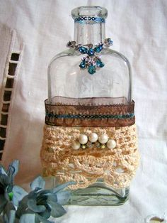 Upcycled Glass Bottles - Vintage Decor
