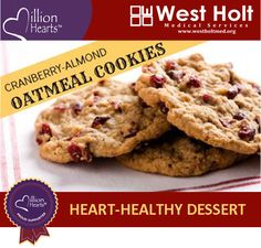 Heart Healthy Recipe - Cranberry Almond Oatmeal Cookies. Pumpkin is subbed for butter in this lowfat dessert.
