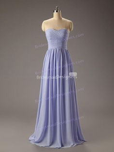 lavender strapless #sweetheart pleated bodice a-line floor sweeping #chiffonbridesmaiddress