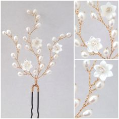 Hermione Harbutt gold Lily Hairpins with Violette Flowers. https://www.hermioneharbutt.com/wedding/combs/buy.php?Product=339&Title=Gold+Lily+Hairpins